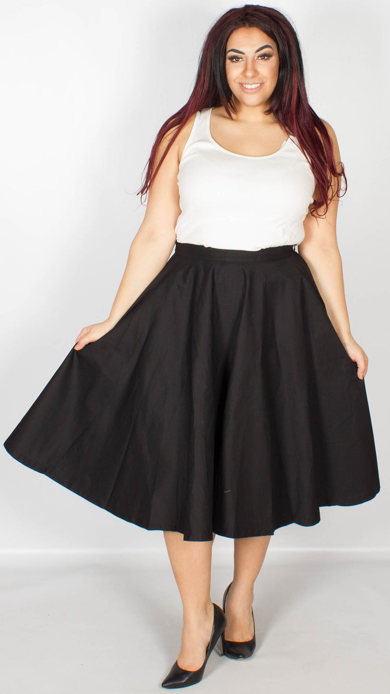 Peggy Fifties Style Black Rock 'n' Roll Full Circle Skirt