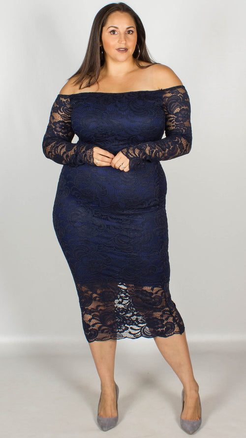 CurveWow Off the Shoulder Lace Midi Dress Navy
