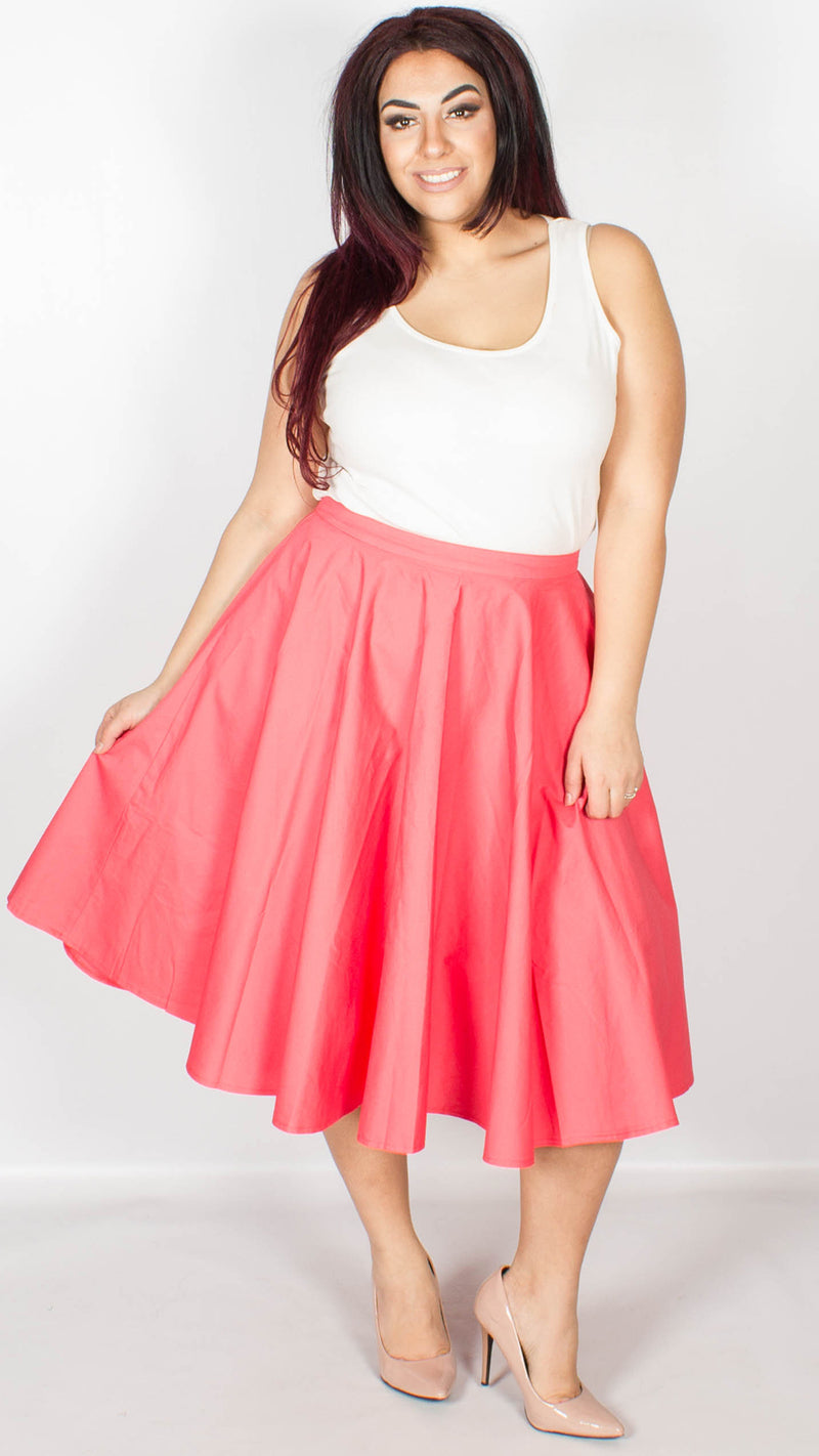 Peggy Fifties Style Coral Rock 'n' Roll Full Circle Skirt