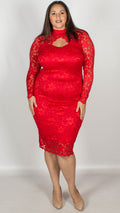 Rosario Red Midi Dress with Long Sleeves & Scallop Detailing