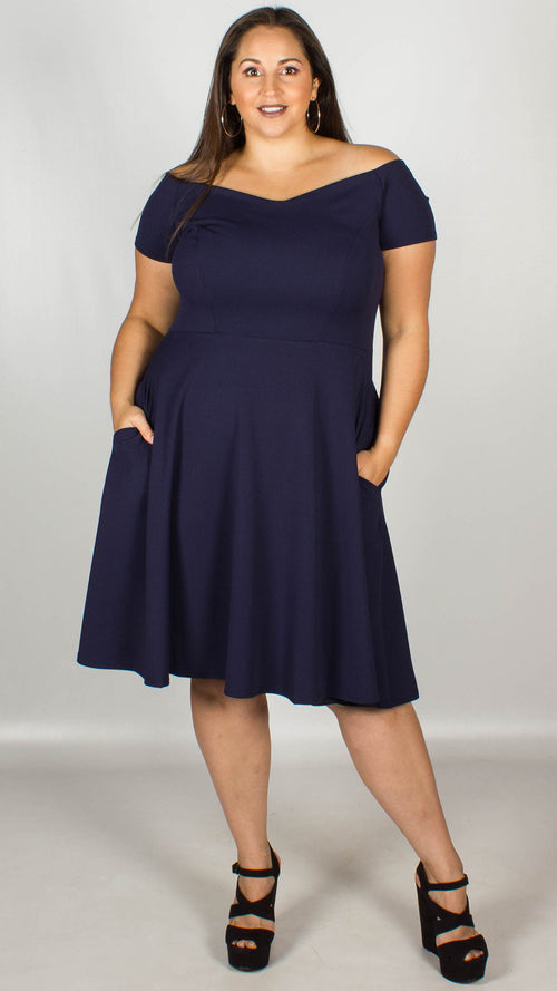 Honey Off the Shoulder Navy Fit and Flare Dress