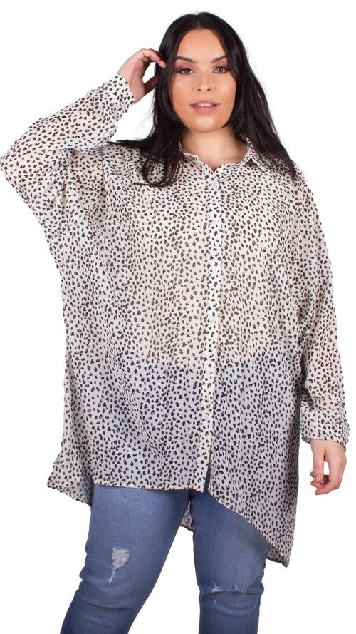 CurveWow Shirt Blouse Animal Print