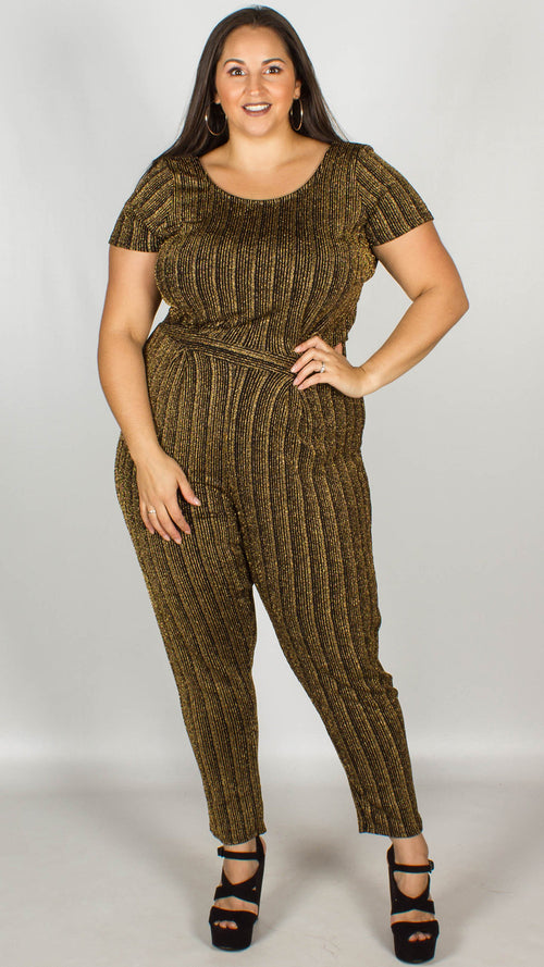 Panama Stretch Lurex Metallic Stripe Jumpsuit
