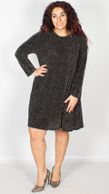 Stacie Black Glitter Long Sleeve Swing Dress