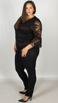 CurveWow Lace V-Neck Top Black