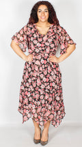 Brianna Black with Pink Floral Printed Midi Dress with Belt