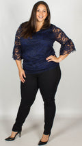 CurveWow Lace V-Neck Top Navy