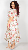 Brianna White with Pink Floral Printed Midi Dress with Belt