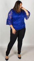 CurveWow Lace V-Neck Top Royal Blue