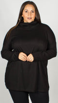 Rosalie Black Ribbed Split Side Jumper