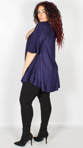 Seoul Dark Blue Embroidered Trim Curved Hem Blouse
