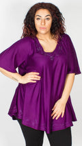 Seoul Purple Embroidered Trim Curved Hem Blouse