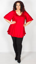 Seoul Red Embroidered Trim Curved Hem Blouse
