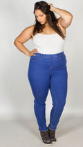 Cassie Frayed Hem Stretch Denim Jeggings Blue
