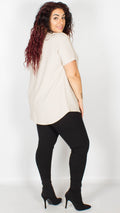 Marseille Baby Grey Textured Dipped Hem Top