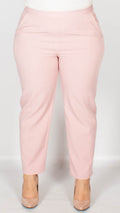 Madelyn Plain Pink Self Stripe Trousers