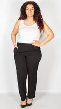 Madelyn Plain Black Self Stripe Trousers