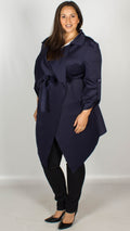 CurveWow Waterfall Tie Waist Coat Navy