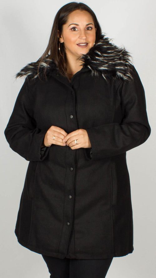 Florita Faux Fur Collar Wool Blend Coat