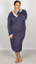 Rella V-Neck Lace Trim Long Sleeve Nightdress Navy