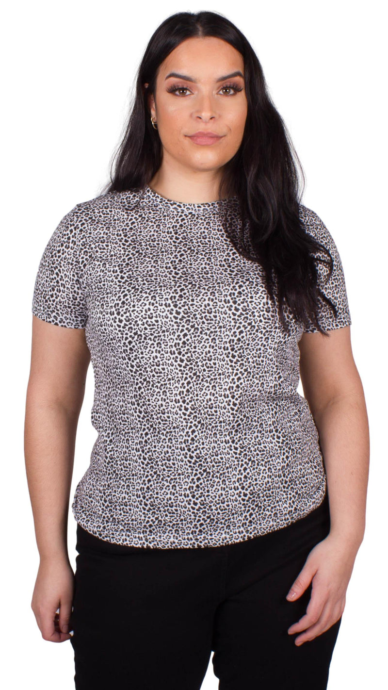Andrea Animal Print T-Shirt Black and White