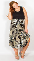 Atlanta Beige/Black Printed Jersey Maxi Skirt
