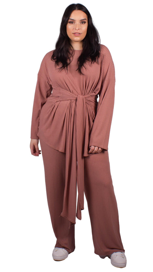 CurveWow Ribbed Wide Leg Lounge Trouser