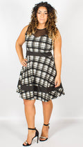 Tromso Black & White Window Check Skater Dress