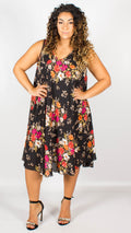 Peyton Floral Print Tie Back V-Neck Swing Dress