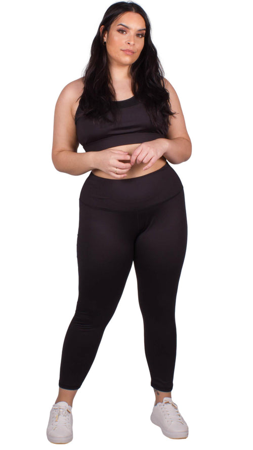 CurveWow Active Leggings and Bra Set Black