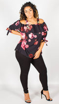 Anmore Red Floral Bardot Top