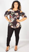 Chelsea Floral Print Ruffle Cold Shoulder Top