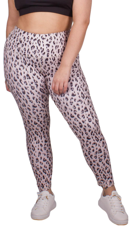 CurveWow Active Leggings Leopard Print Pink