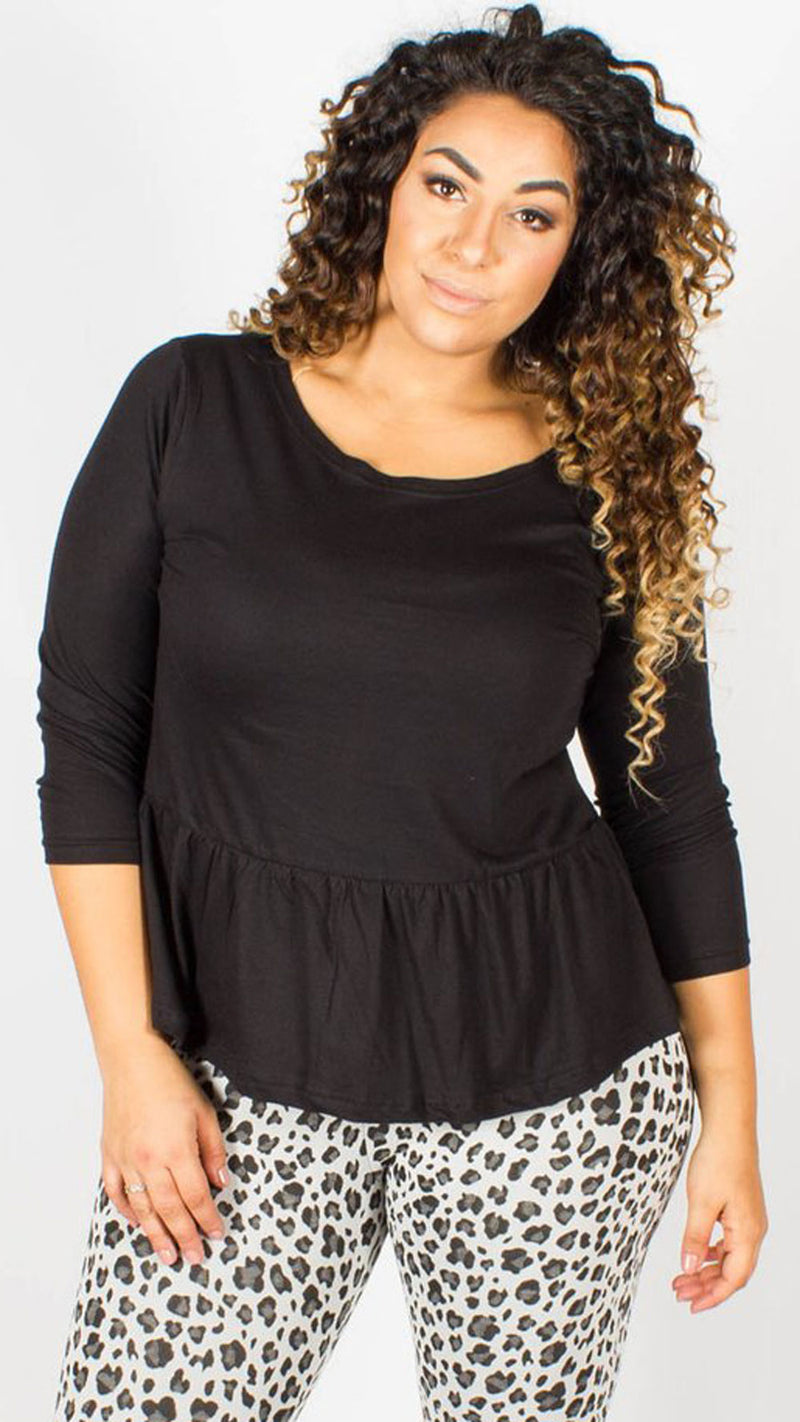 Madeline Black Peplum Top