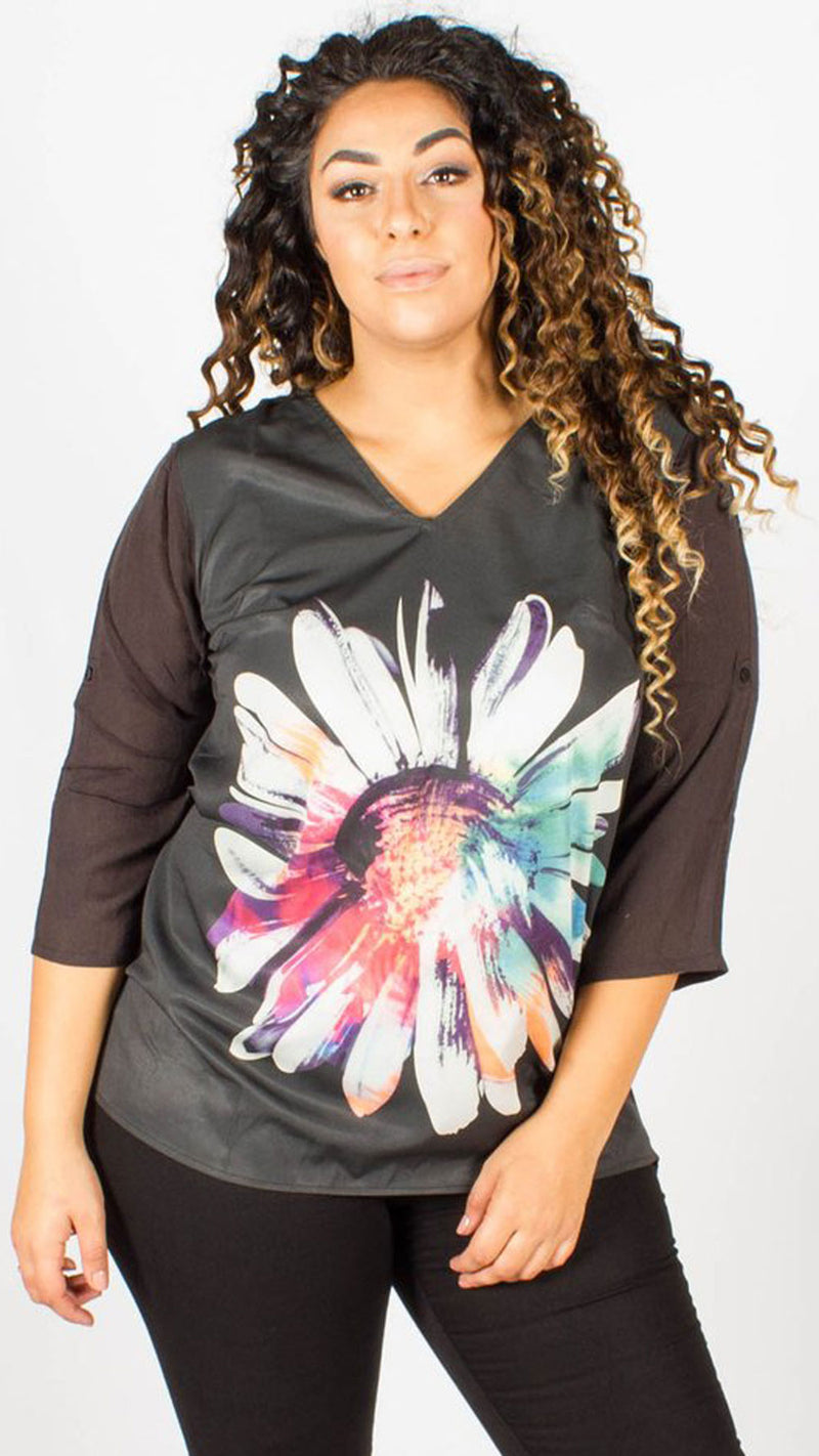 Arroyo Black Flower Print Top