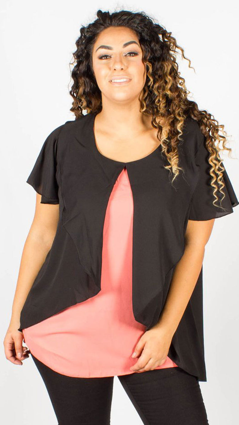 Essex Coral Overlay Short Sleeve Blouse
