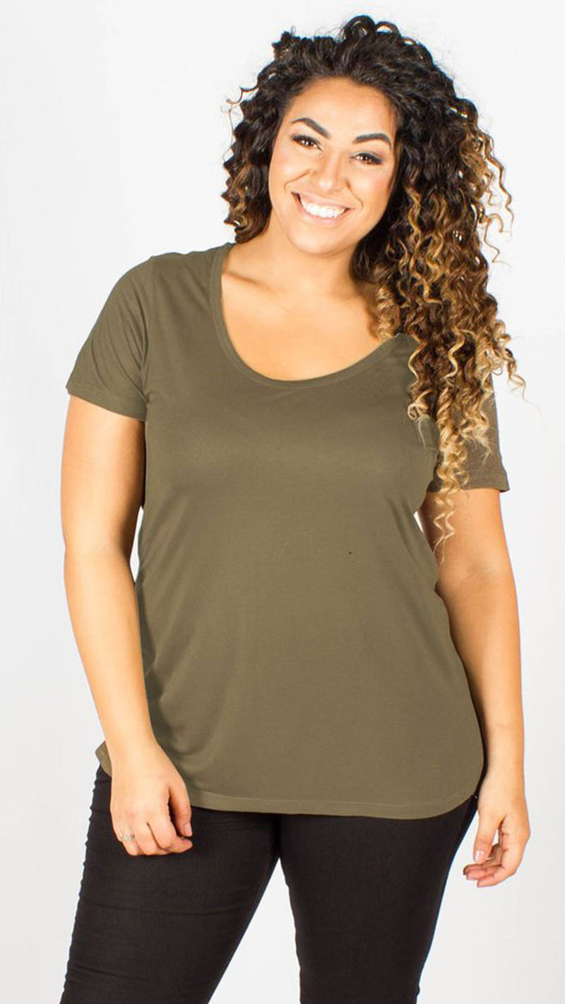 Kaya Khaki Scoop Neck T-Shirt