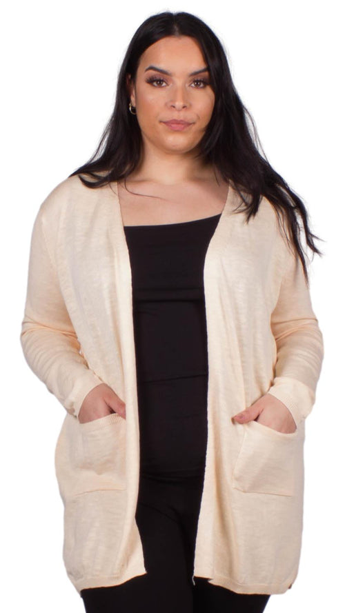 CurveWow Boyfriend Cardigan Pebble