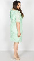 Jacques Mint Floral Lace Overlayer Shift Dress