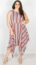 Ivy Hanky Hem Striped Dress