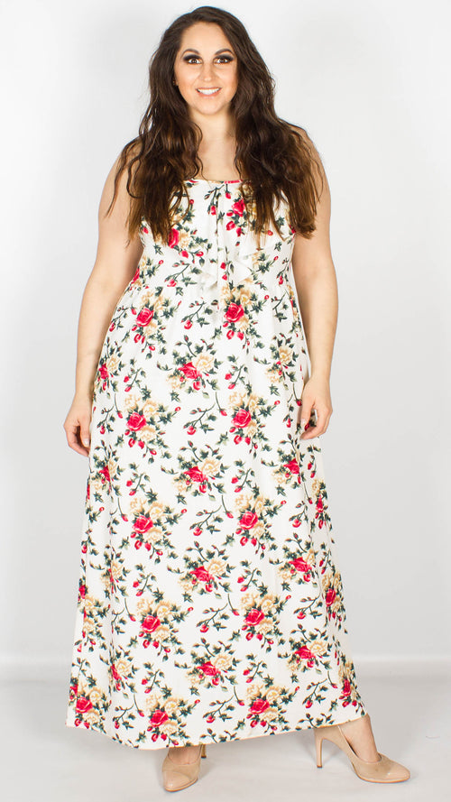 Alexis Floral White Strappy Maxi Dress