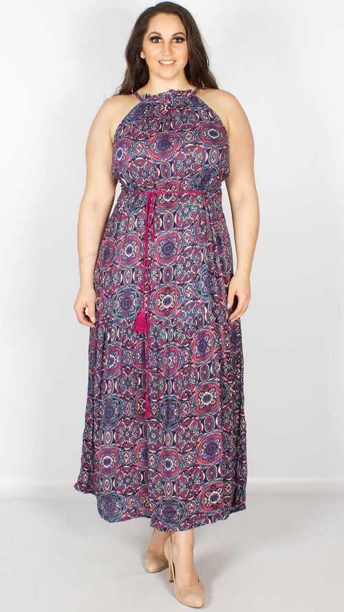 Nichola Tile Print Halterneck Maxi Dress