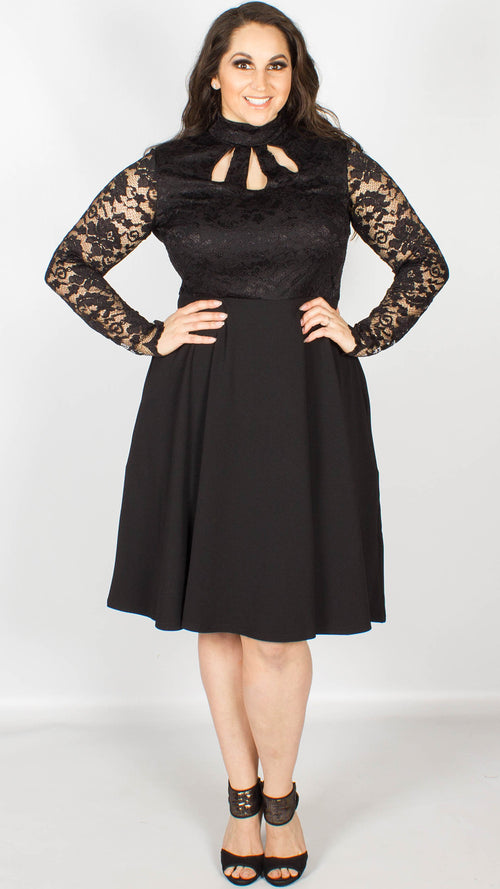 Bendigo Black High Neck Skater Dress with Keyhole Detailing