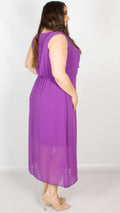Anna Purple Wrap Grecian Midi Dress