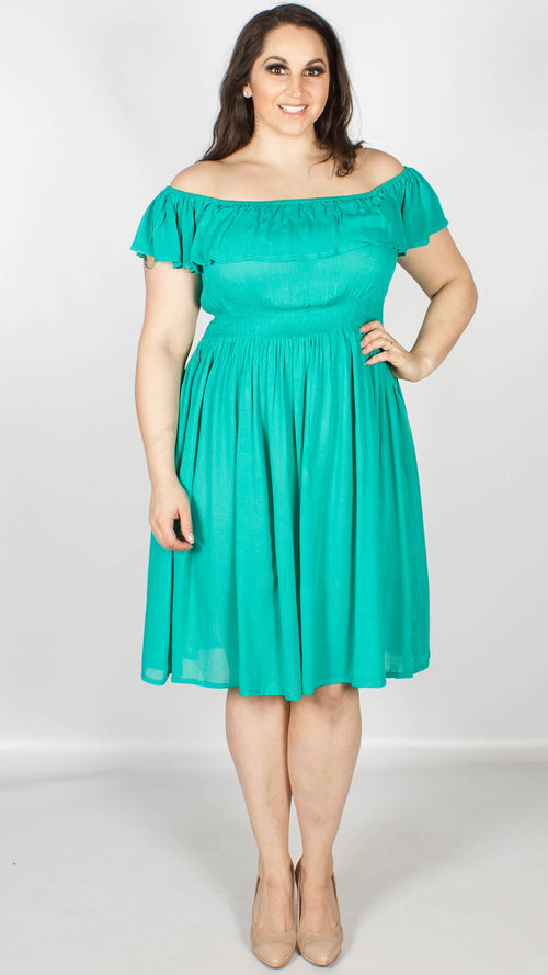 Petal Green Bardot Neck Midi Dress