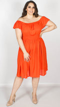 Petal Orange Bardot Neck Midi Dress