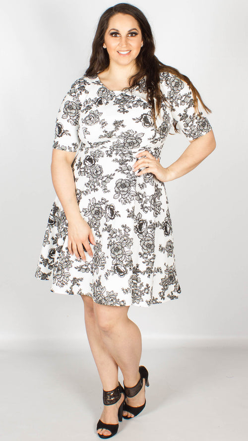 Maddison Black and White Floral Skater Dress
