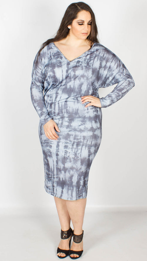 Matilda V-neck Batwing Grey Tie Dye Jersey Dress