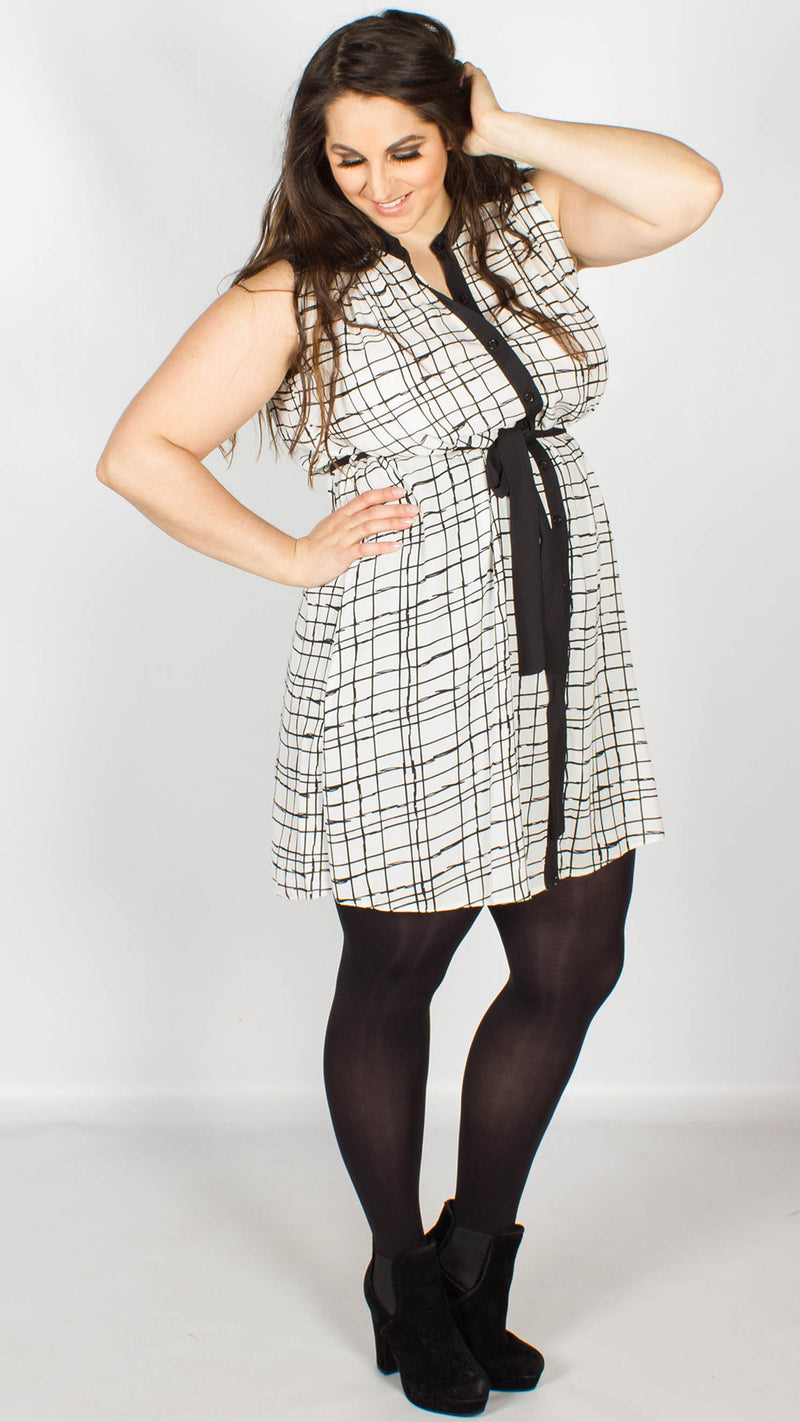Summer Black White Modern Check Shirt Dress