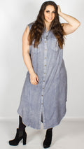 Lexi Sleeveless Collared Shirt Dress